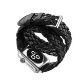 iPM WA61D Leather Braided Double Wrap Apple Watch Band