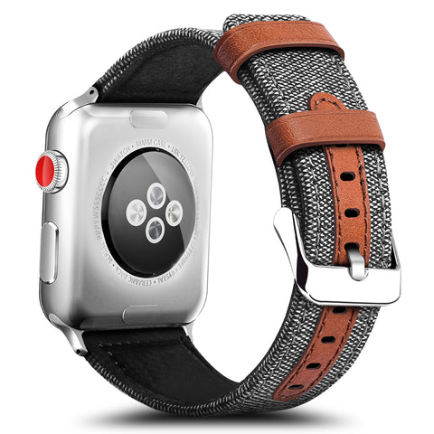 iPM ICEWA77 Fabric With Leather Strip Replacement Band for Apple Watch