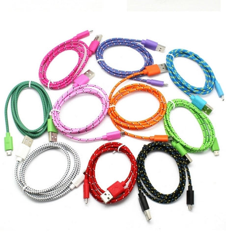 2 Pack of 10 Ft. Braided Fabric Micro-USB Cable - Assorted Colors