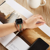 iPM Leather Double Wrap Apple Watch Band Strap With Fun Colors!
