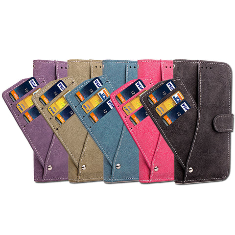 iPM iPhone 7/7+/8/8+ Suede Wallet Case