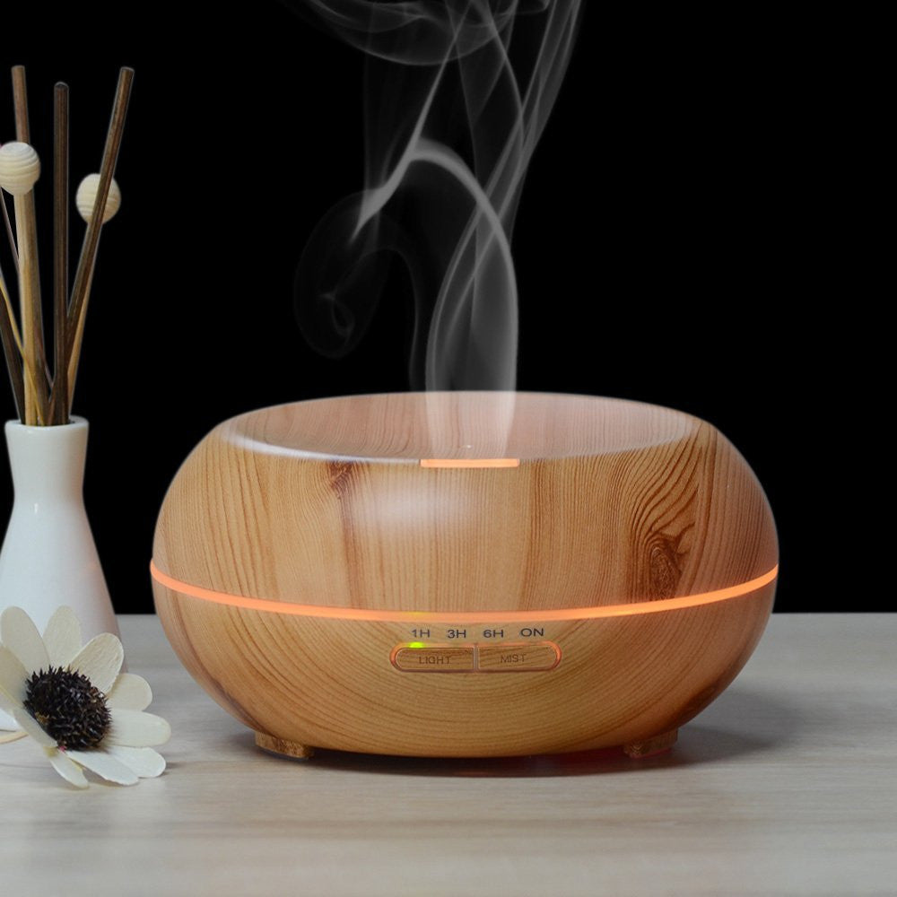iPM 200ML Aroma Diffuser Wood Humidifier - With Color Changing Mood Lighting MS306