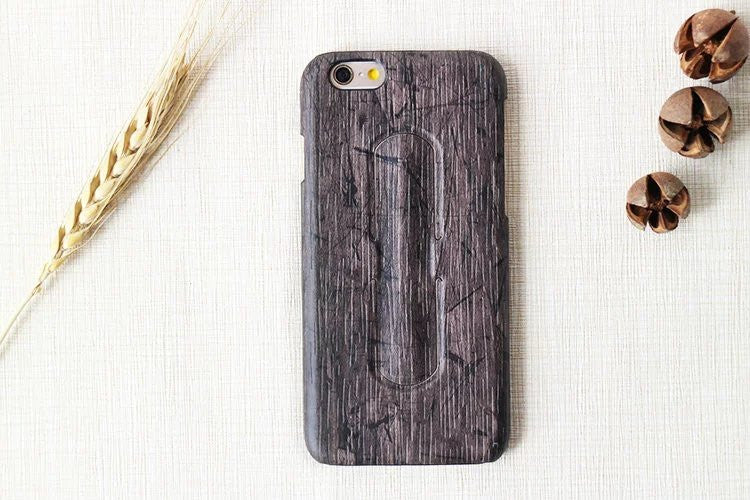 iPM Wood Grain Protective Case with Built-in Kickstand for iPhone 6/6+/6S/6S+