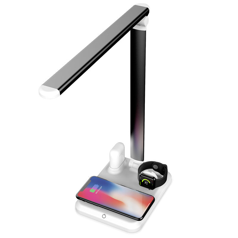 iPM 4 in 1 LED Desk Lamp With Wireless Charging and USB Charging for iPhone, Airpods and Apple Watch
