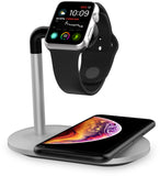 iPM Apple Certified MFI Apple Watch Charging Dock with Qi Wireless Charging Base And USB Charging Port
