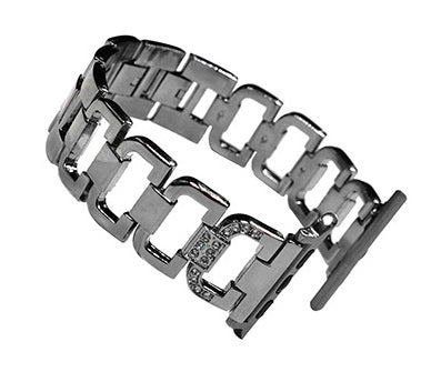 iPM WA76D Stainless Steel D With Diamonds On Clasp Replacement Watch Band