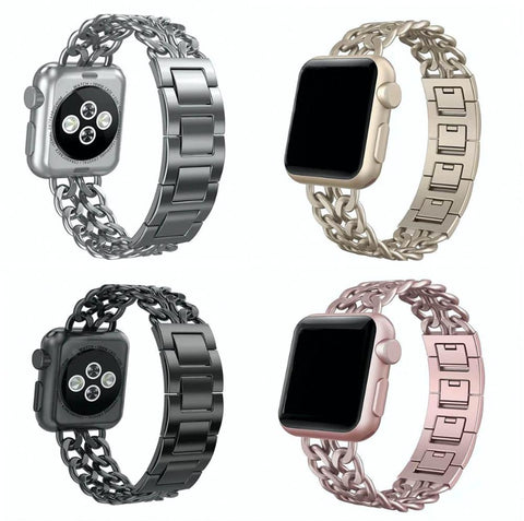 iPM Chain Link Stainless Steel Apple Watch Band With Removable Links For All Apple Watch Series