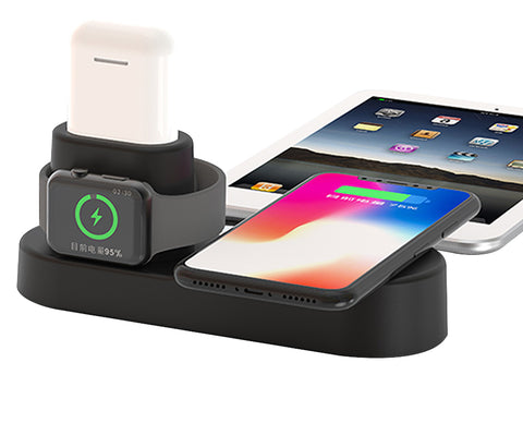 iPM 4 in 1 Aluminum Alloy Ultra Fast Wireless Charging Station for Apple Watch, iPhone and Apple Airpods