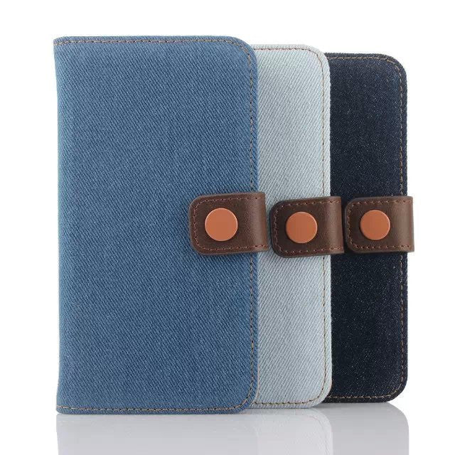 iPM Denim Jeans Patterned Luxury Wallet Case For Samsung Galaxy S6