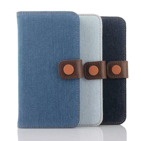 Denim Jeans Patterned Luxury Wallet Case For Samsung Galaxy S6