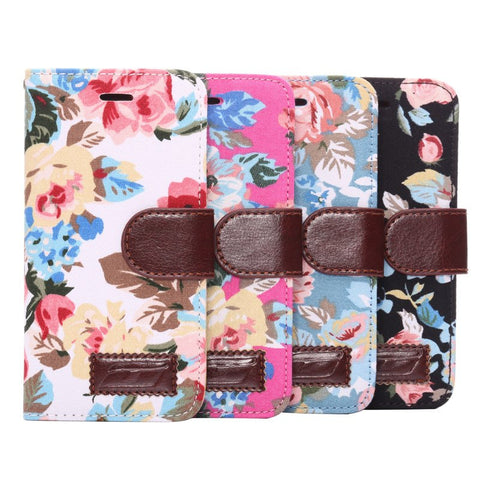 iPM Floral Leather Wallet Storge Case For iPhone 6