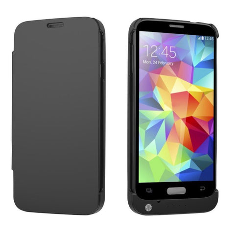 iPM Samsung Galaxy S5 External Charger Case With Leather Flip Cover