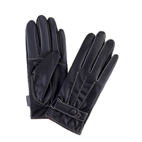 iPM Mens Faux Leather/Fleece Superwarm Super Stylish Black Leather Touchscreen Gloves With White Stitching