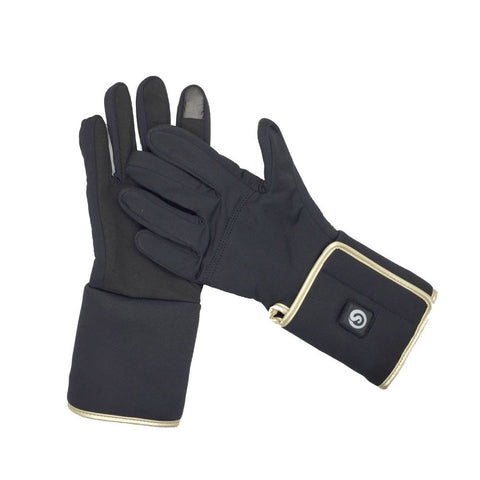 iPM 3-Level Rechargeable Heated Gloves - Sleek Black with Gold Trim