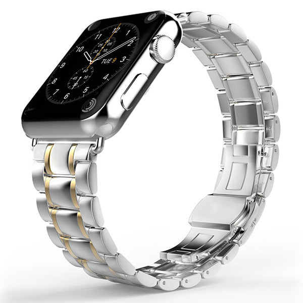 iPM Luxury Stainless Steel Link Band with Butterfly Closure for Apple Watch