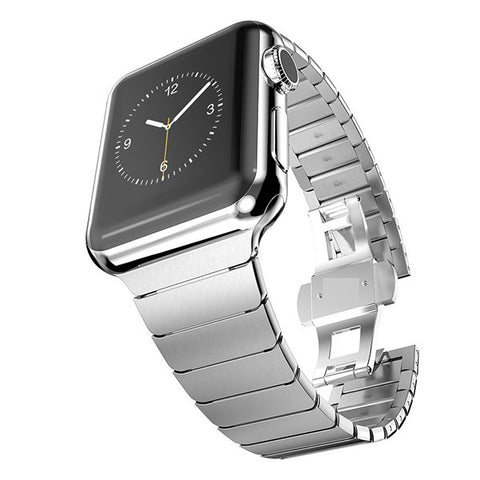 iPM Stainless Steel Link Band with Horizontal Butterfly Closure for Apple Watch