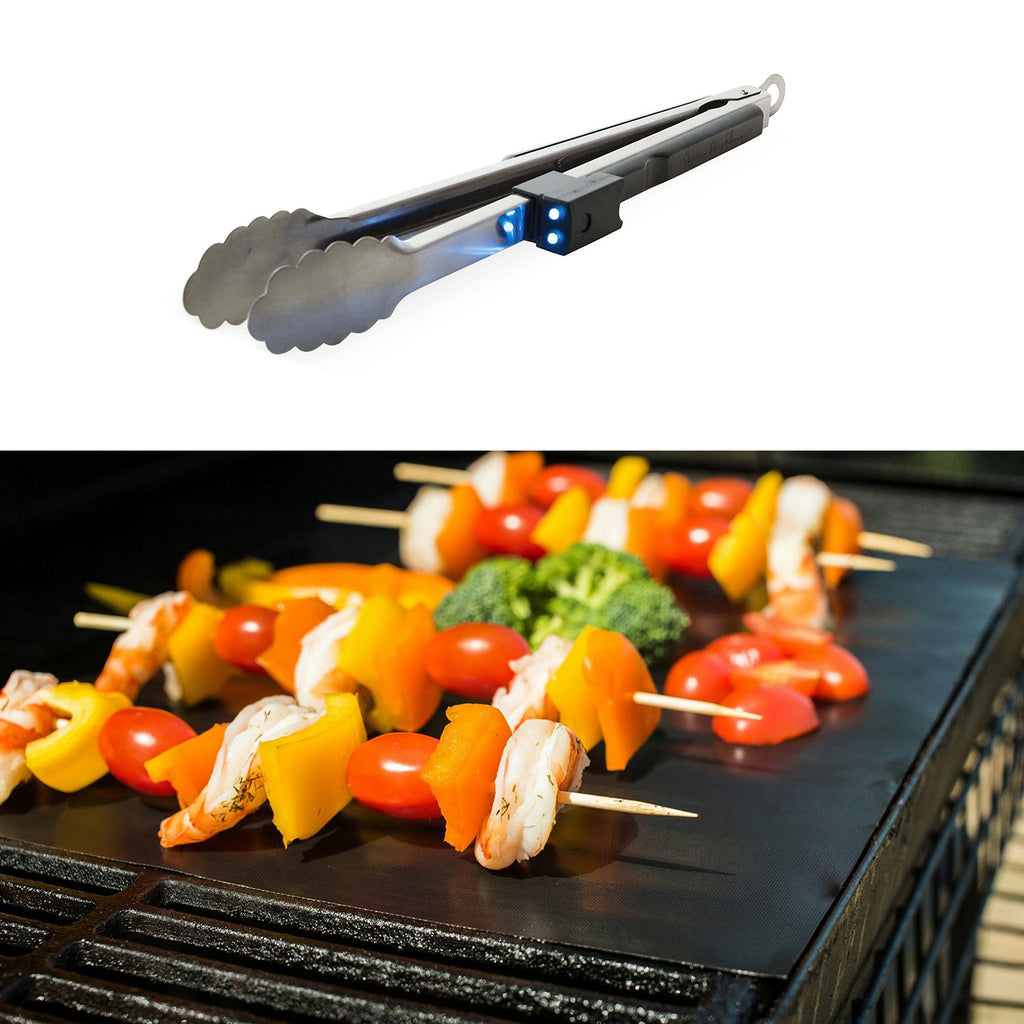 iPM BBQ 2-Pack Non-Stick Grill Mats & Ultimate Tongs with Grab-Light