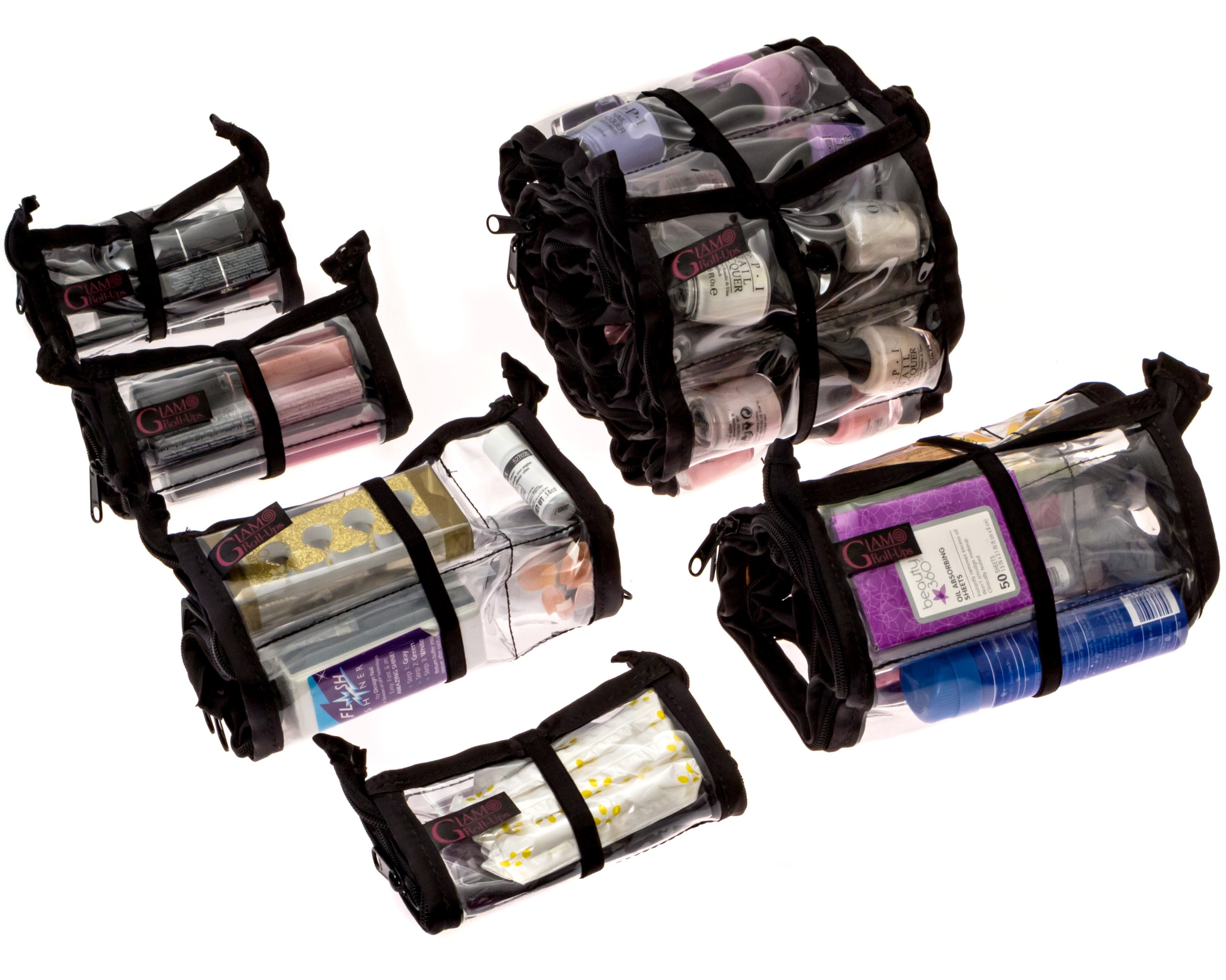 Makeup Organizer Glam Roll-Up Set of 5 Bags - Glam Roll-Ups