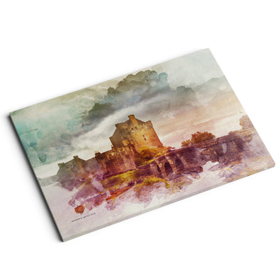 """Castle in the Loch"" - A4 Standard Canvas Print"