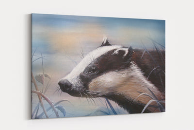 """Blue Frost Badger"" - A4 Standard Canvas Print"
