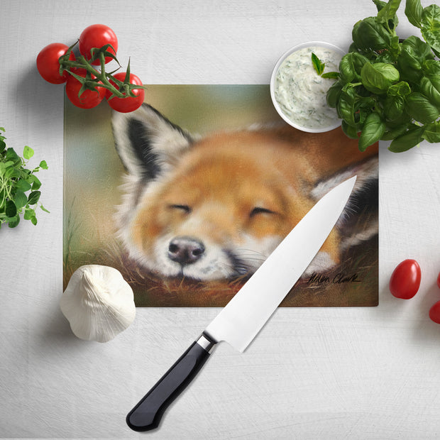 Sleepy Red Glass Chopping Board