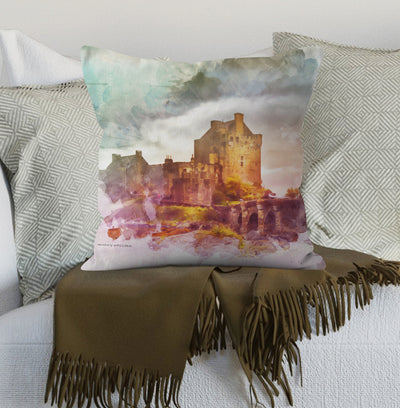 """Castle in the Loch Summer""  Cushion"
