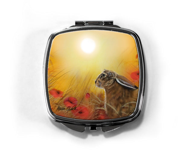 """Hare and Poppies"" Compact Mirror"
