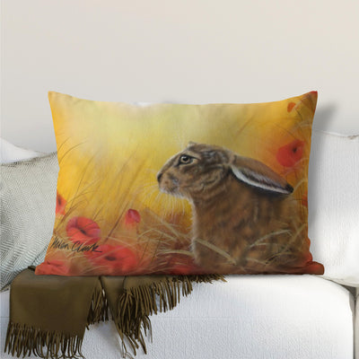 Hare and Poppies Lumbar Cushion