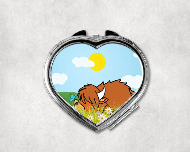 Lazy Coo Heart Shaped Compact Mirror