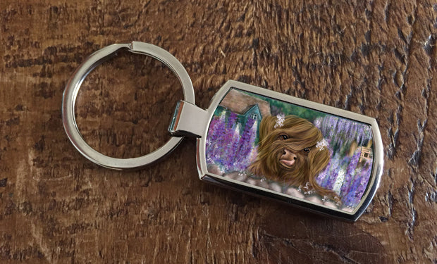 """Marmalade and the Cottage Garden"" (Oblong keyring)"