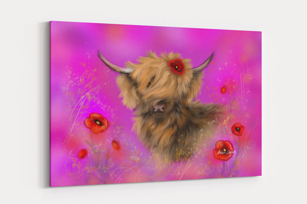 """Poppy In The Pink"" - A4 Standard Canvas Print"