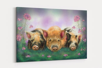 """Piggy in the Middle""  - A4 Standard Canvas Print"