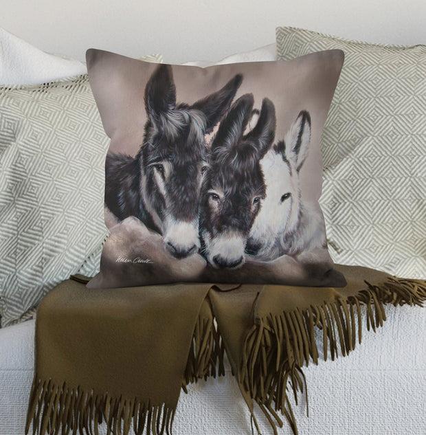 Three Wise Donkeys Scatter Cushion