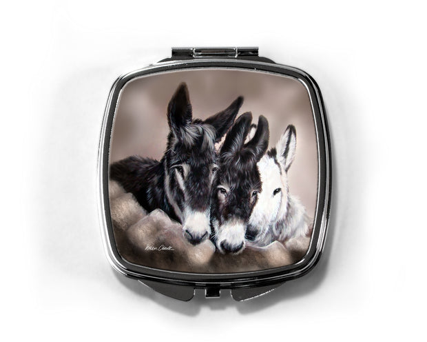 """Three wise Donkeys"" Compact Mirror"