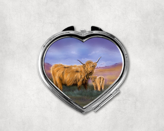 A Mothers Love Heart Shaped Compact Mirror