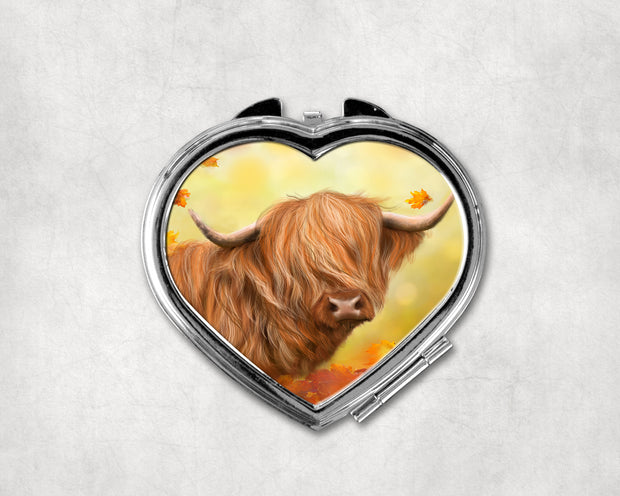 Autumn Gold Heart Shaped Compact Mirror