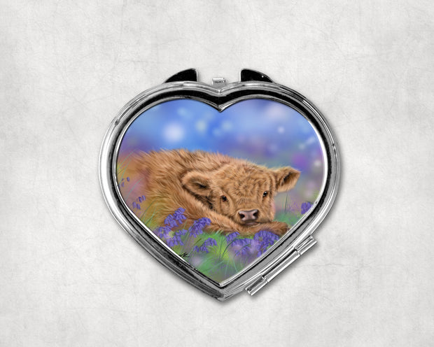 Bluebell Heart Shaped Compact Mirror