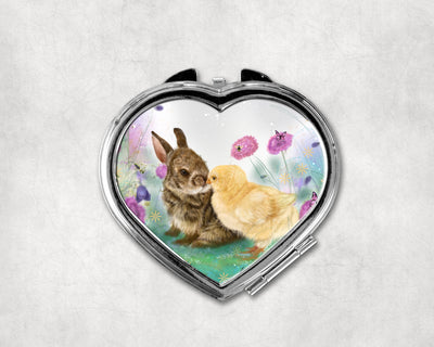 Cotton tail kiss Heart Shaped Compact Mirror