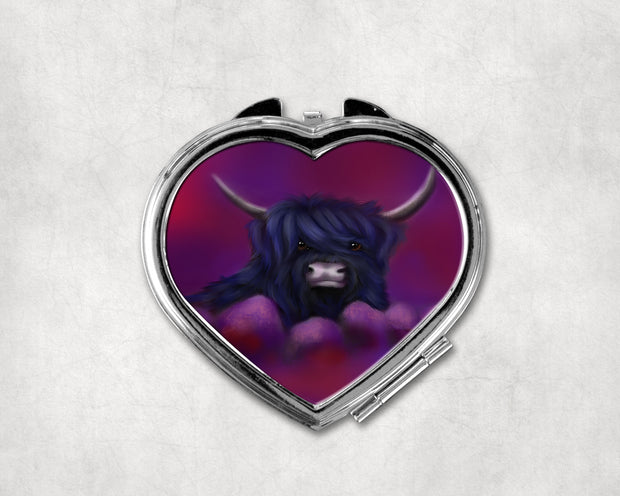 Hamish in Blue Heart Shaped Compact Mirror