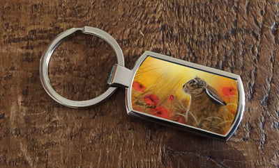 Hare and Poppies (Oblong keyring)
