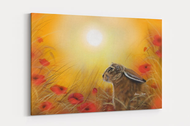 """Hare & The Poppies"" - A4 Standard Canvas Print"