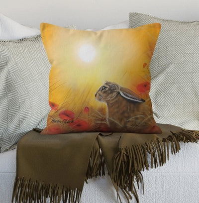 Hare and Poppies Scatter Cushion