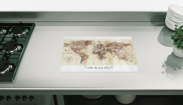 Muddy World Map Glass Chopping Board