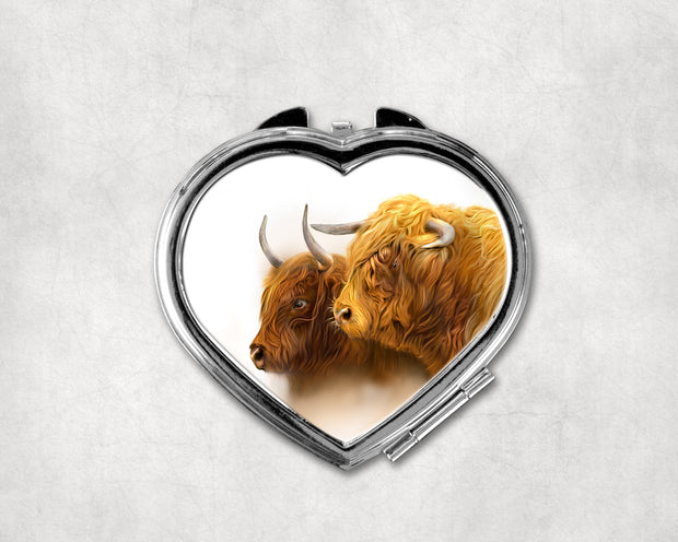 Laird and Lady Heart Shaped Compact Mirror