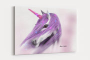 """Lilac Unicorn"" - A4 Standard Canvas Print"