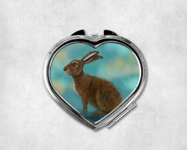 March Hare Heart Shaped Compact Mirror