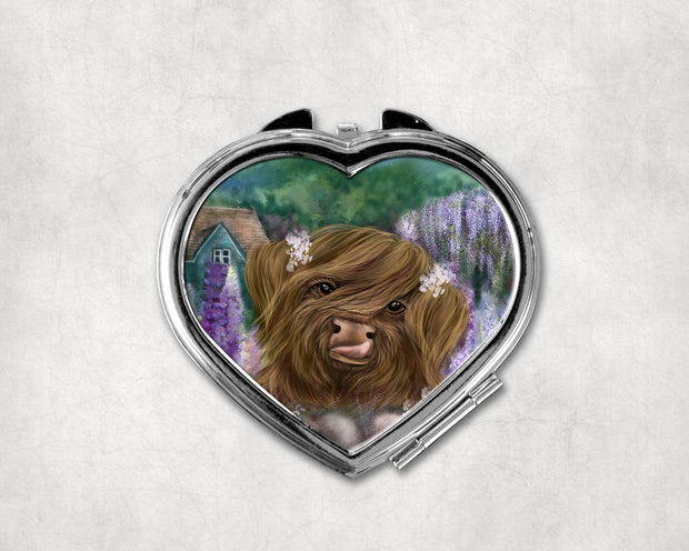 Marmalade and the Cottage Garden Heart Shaped Compact Mirror
