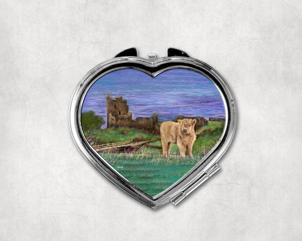 Nessies Castle Heart Shaped Compact Mirror