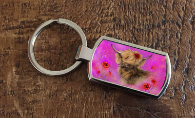 Poppy in Pink (Oblong keyring)