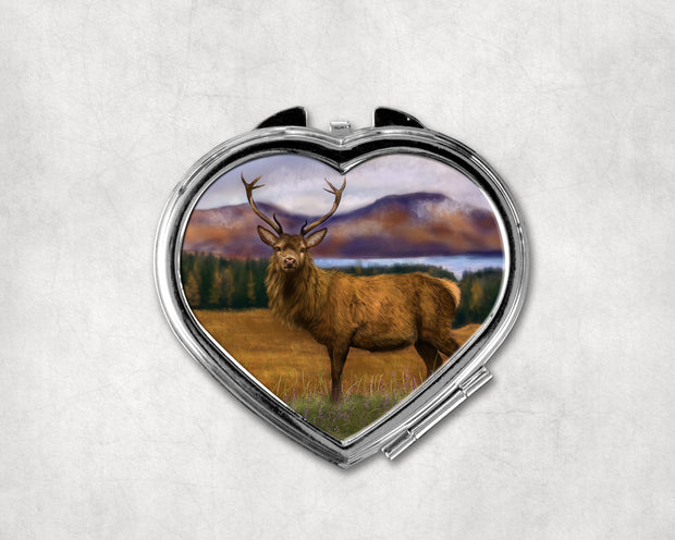 Prince of the Highlands Heart Shaped Compact Mirror